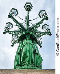 Detail of the Eight-armed gas lamp candelabra on Hradcany ...