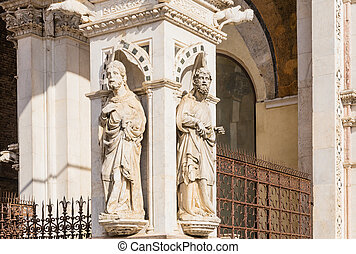 Detail of the facade of a marble chapel Cappella di Piazza in Siena, Italy