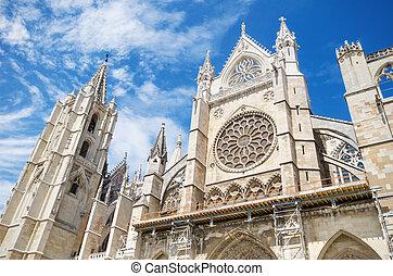 Detail of the facade of Leon Cathedral, Castilla y Leon, Spain.