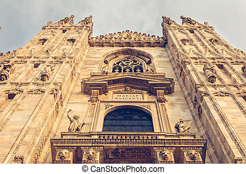 detail of the facade of Milan Cathedral