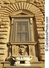detail of the facade of Pitti Palace