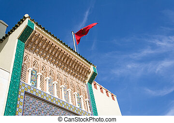 Detail of the facade of the royal palace in Fes