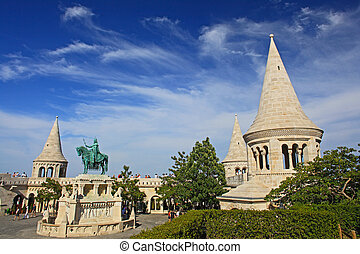 detail of the Fisherman's Bastion in Budapest , Hungary