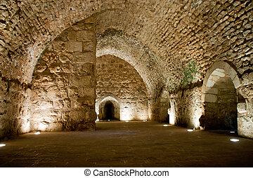 Detail of the fortress, Ajloun, Jordan. Arab and crusaders ...