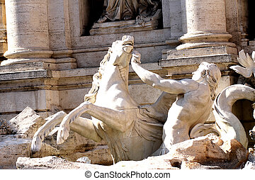 detail of the fountain of trevi in Rome with the runaway...