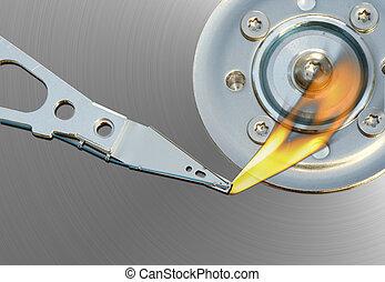 error - Detail of the hard disc and busbar - error