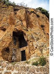 Detail of the houses carved into the tuff in Civita di Bagnoregio, Lazio, Italy
