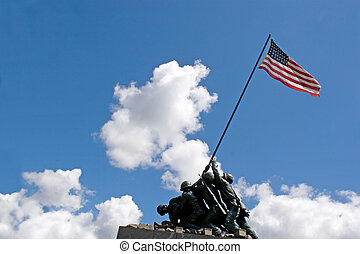 Iwo Jima Memorial - Detail of the Iwo Jima Memorial Statue...
