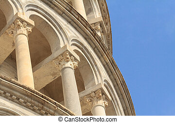 Detail of the leaning tower of Pisa