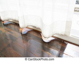 modern parquet floors and curtain.