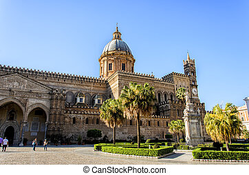Detail of the Palermo cathedral in Italy
