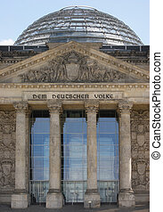 detail of the Reichstag in Berlin with cupola