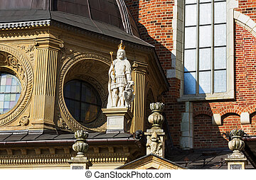 Detail of the Royal palace in Wawel in Krakow