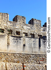 Detail of the Saint George Castle at Lisbon, Portugal