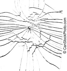 Detail of the shattered glass - cracks and shards -hit glass