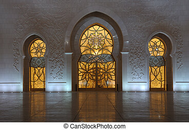 Detail Of The Sheikh Zayed Mosque At Night. Abu Dhabi,.