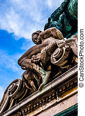 Detail of the statue of Savoyai Eugen in front of main facade of the historic Royal Palace - Buda Castle in Budapest, Hungary.