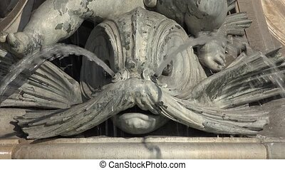 detail of the stele - the Fountain of the Three Graces in...