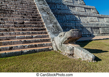 Detail of the steps and a serpent head sculpture of the...