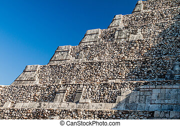 Detail of the steps of the pyramid Kukulkan in the Mayan...