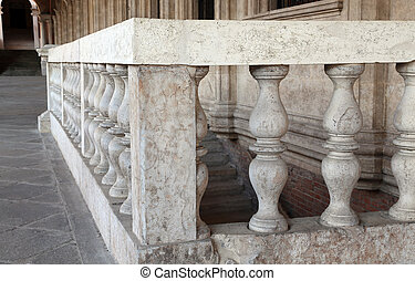 detail of the stone balustrade of the Palladian Basilica in...