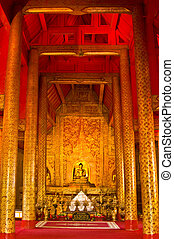 Wat Phra Singh - detail of the temple Wat Phra Singh in...