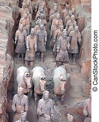 Detail of the terracotta warriors army, Zian, China - Detail...