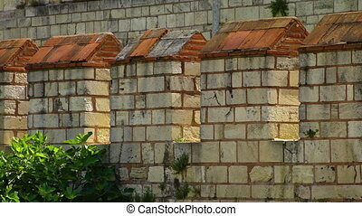 Detail of the Theodosian Walls of Constantinople - Close up...