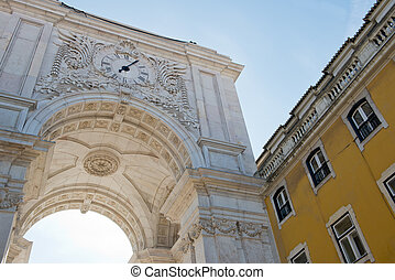 Detail of the Triumphal Arch in Lisbon, Portugal