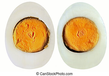 Detail of the two hard-boiled eggs