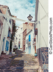 Detail of the typical stone street of Cadaques. Costa Brava.