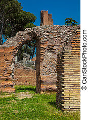 Detail of the walls at the ancient ruins of the Domus Augustana on Palatine Hill in Rome