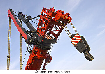 A close up of the telescopic arm arm of the worlds largest mobile crane with the jigged ams to lift the real heavy stuff.