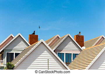 Detail of town houses. - Close up detail of complex house...