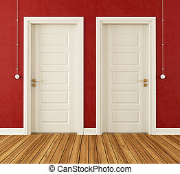Detail of two white doors in a red room - rendering