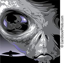 detail of ufo enemy and his dark eye