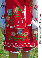 Detail of ukrainian female folk costume 1