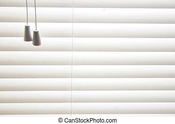 venetian blinds - detail of venetian blinds closed in window