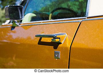 detail of vintage car door