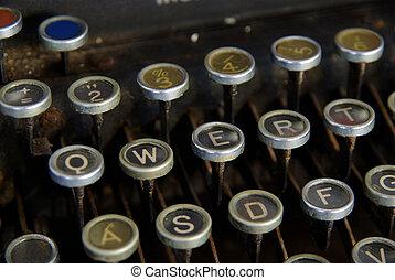 typewriter - detail of vintage typewriter, close up on keys