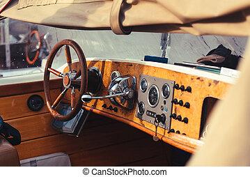 Detail of Vintage Wood Speed Boat