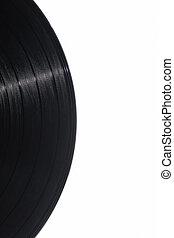 Detail of vinyl record on white background
