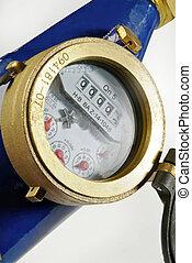 detail of water meter on white