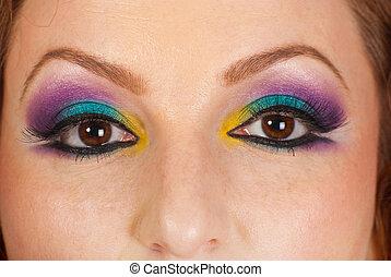 Detail of woman eyes makeup