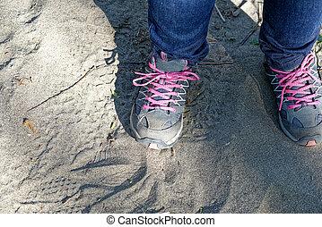 detail of woman trekking shoes