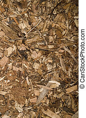 A stock photograph of woodchips creating an interesting texture.