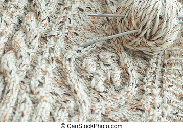 Detail of woven handicraft knit sweater