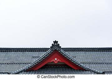 Detail of Yahiko station roof in Yahiko, Niigata, Japan.