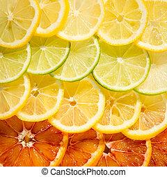 orange, lemon, lime slices