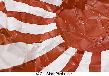 Japan Naval Ensign - detail photo of a wrinkled Japan Naval...